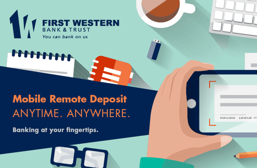 Cartoon advertisement for Remote Deposit. There is a hand holding a smartphone taking a picture of a check.