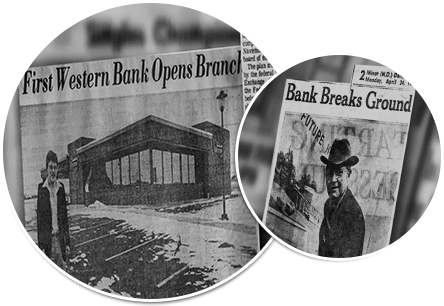 Old news clippings from newspapers regarding First Western Bank & Trust's ground breakings.
